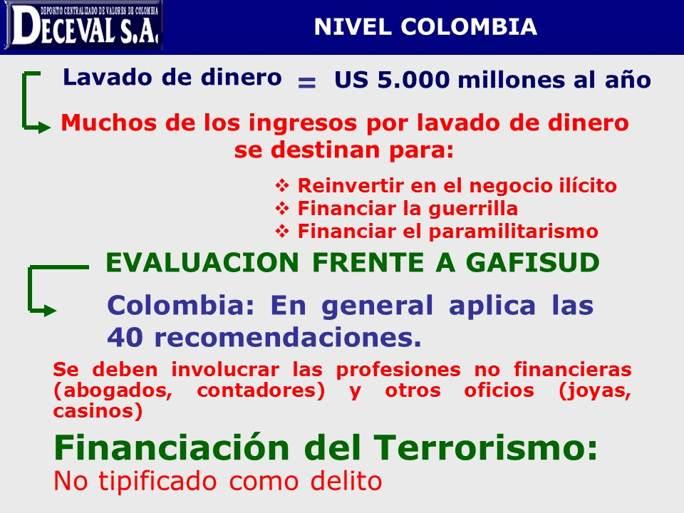 NIVEL COLOMBIA Lavado de dinero US 5.000 millones al año Muchos de los ingresos por lavado de dinero se destinan para: = Reinvertir en el negocio ilíc