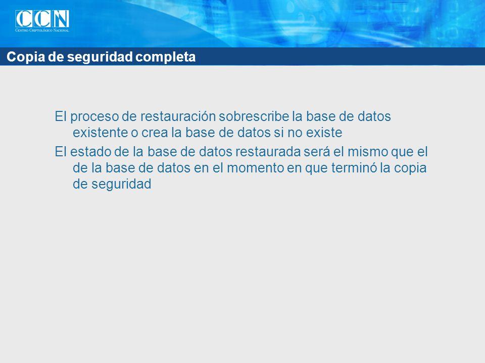 Copia de seguridad completa El proceso de restauración sobrescribe la base de datos existente o crea la base de datos si no existe El estado de la base de datos restaurada será el mismo que el de la base de datos en el momento en que terminó la copia de seguridad