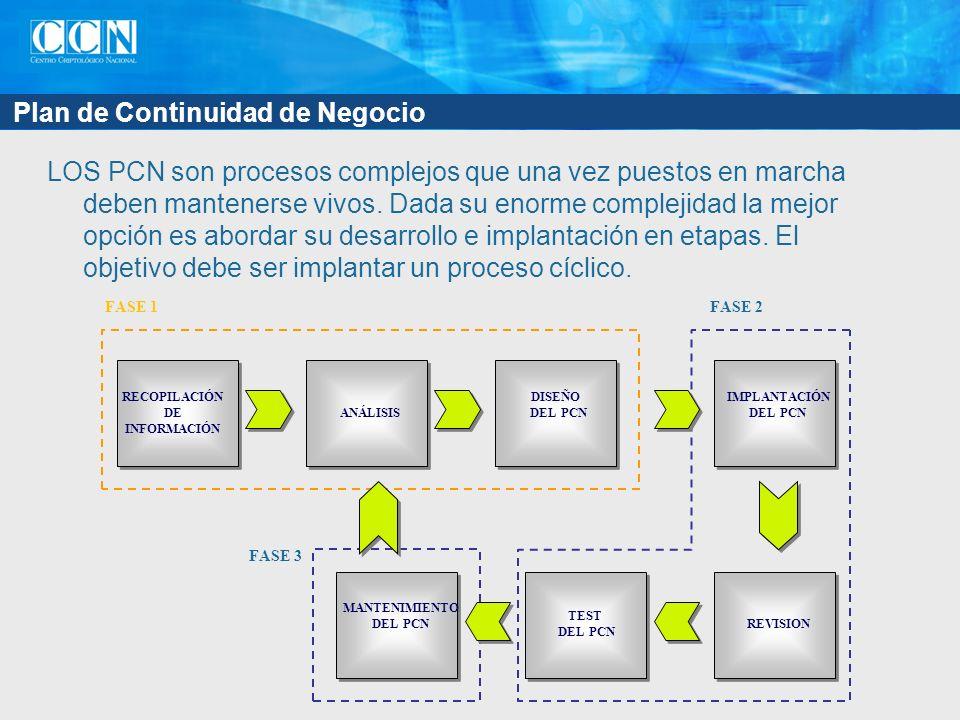 Plan de Continuidad de Negocio LOS PCN son procesos complejos que una vez puestos en marcha deben mantenerse vivos.