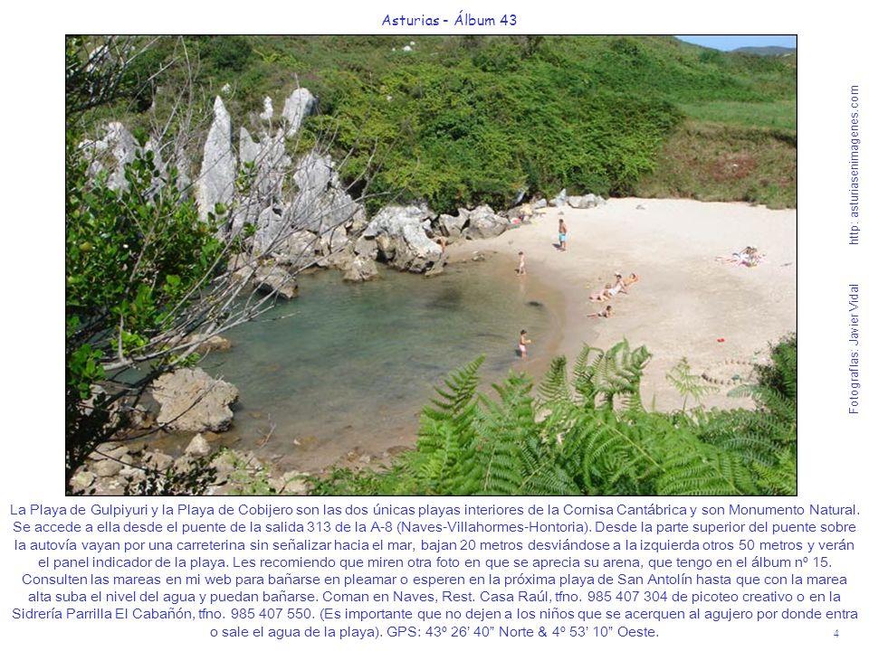 4 Asturias - Álbum 43 Fotografías: Javier Vidal http: asturiasenimagenes.com La Playa de Gulpiyuri y la Playa de Cobijero son las dos únicas playas in