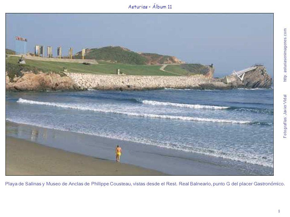 8 Asturias - Álbum 11 Fotografías: Javier Vidal http: asturiasenimagenes.com Playa de Salinas y Museo de Anclas de Philippe Cousteau, vistas desde el