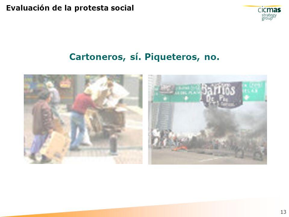 13 Evaluación de la protesta social Cartoneros, sí. Piqueteros, no.