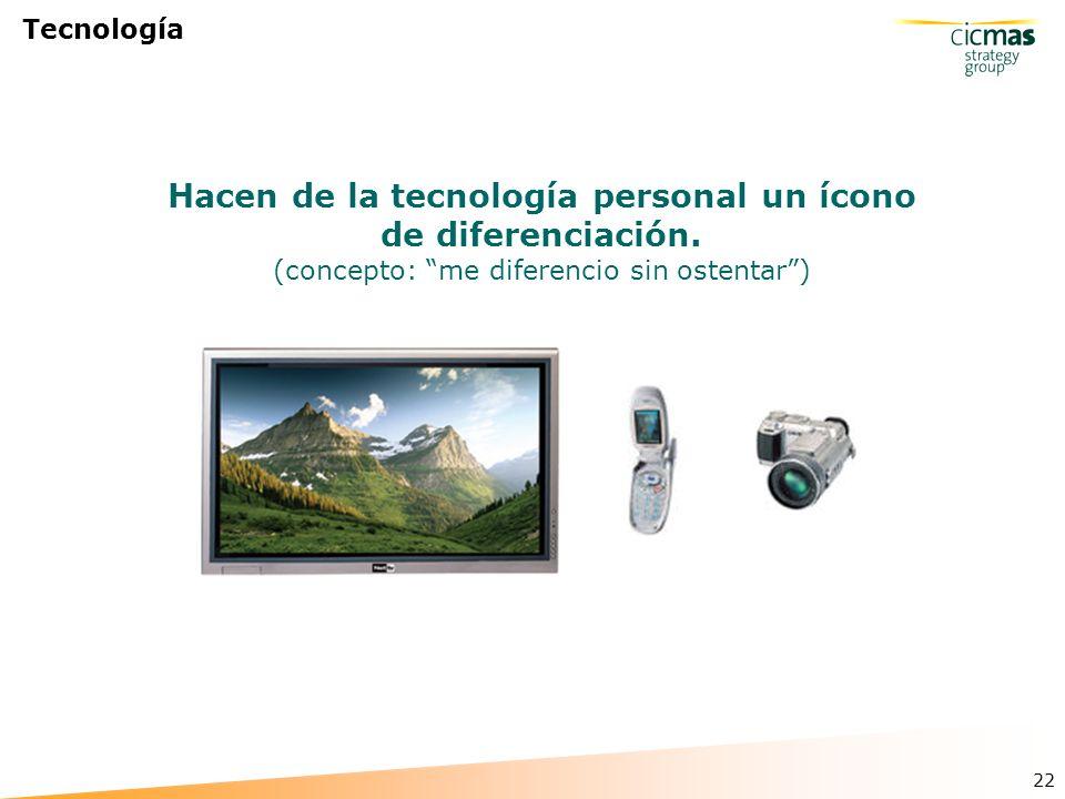 22 Tecnología Hacen de la tecnología personal un ícono de diferenciación.