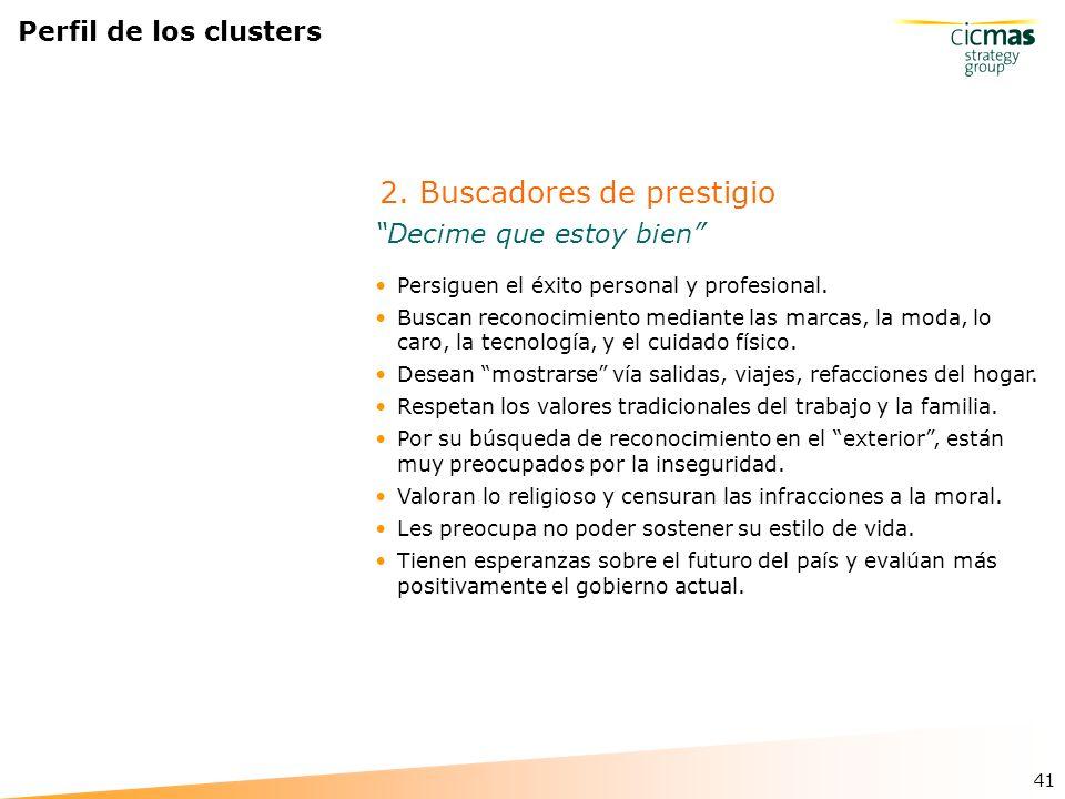 41 Perfil de los clusters Persiguen el éxito personal y profesional.