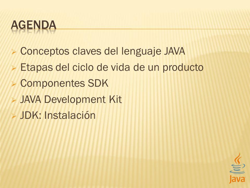 Conceptos claves del lenguaje JAVA Etapas del ciclo de vida de un producto Componentes SDK JAVA Development Kit JDK: Instalación