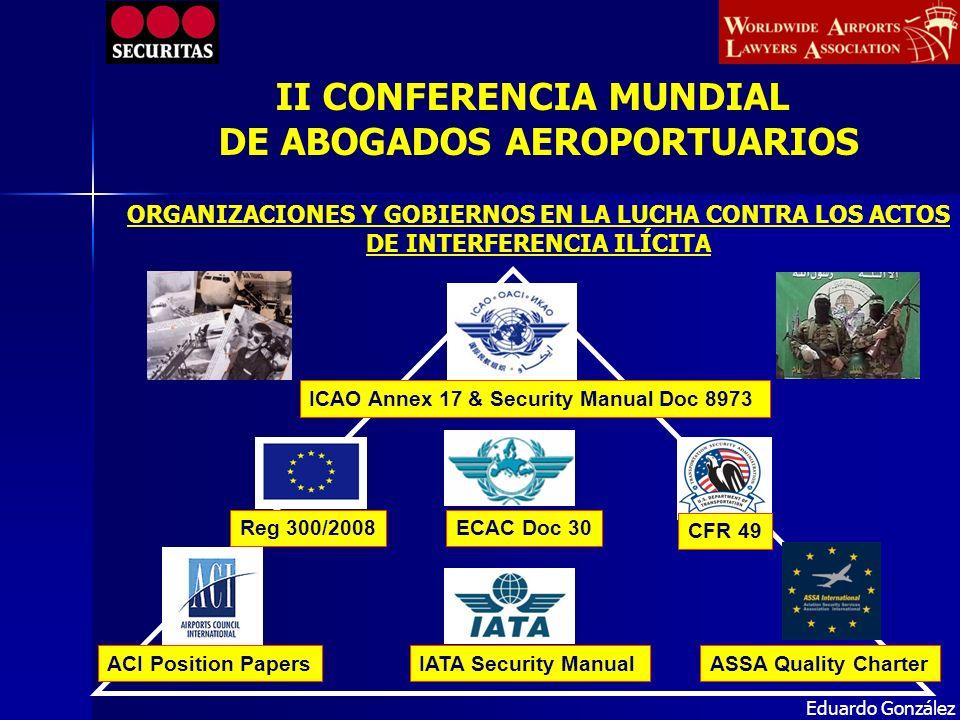 ICAO Annex 17 & Security Manual Doc 8973 ECAC Doc 30Reg 300/2008 CFR 49 IATA Security ManualASSA Quality CharterACI Position Papers Eduardo González O