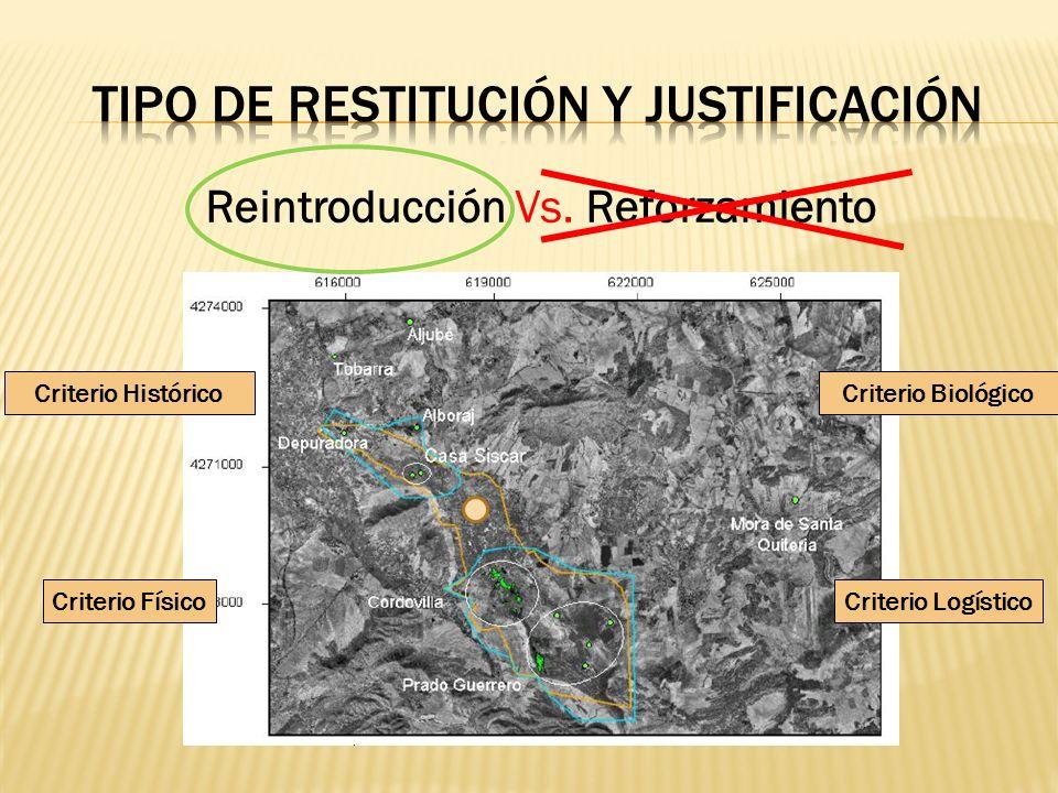 Reintroducción Vs. Reforzamiento Criterio HistóricoCriterio Biológico Criterio LogísticoCriterio Físico