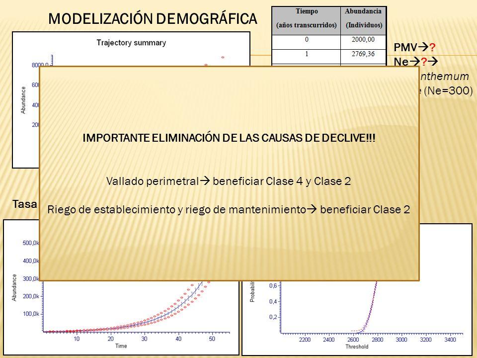 Tasa finita de crecimiento de la población (λ) =1,1034 MODELIZACIÓN DEMOGRÁFICA PMV ? Ne ? Helianthemum juliae (Ne=300) IMPORTANTE ELIMINACIÓN DE LAS