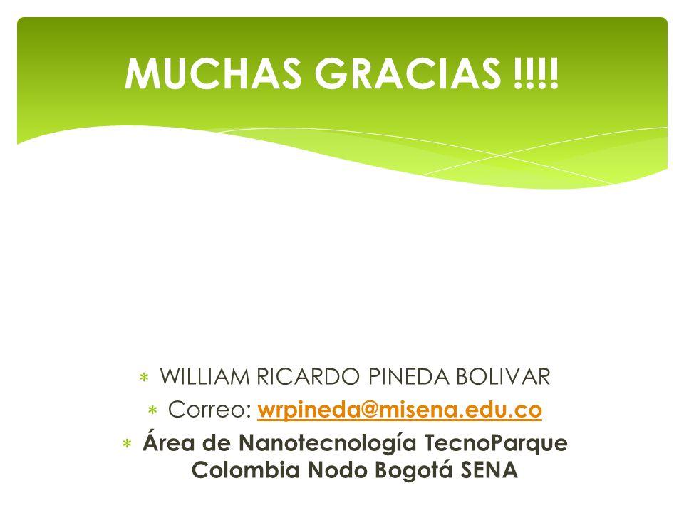 WILLIAM RICARDO PINEDA BOLIVAR Correo: wrpineda@misena.edu.co wrpineda@misena.edu.co Área de Nanotecnología TecnoParque Colombia Nodo Bogotá SENA MUCH