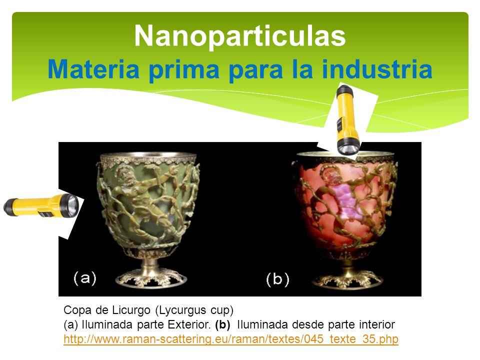 Nanoparticulas Materia prima para la industria Copa de Licurgo (Lycurgus cup) (a)Iluminada parte Exterior. (b) Iluminada desde parte interior http://w