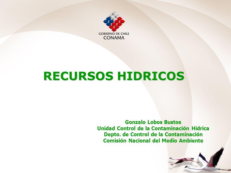 RECURSOS HIDRICOS Gonzalo Lobos Bustos Unidad Control de la Contaminación Hídrica Depto. de Control de la Contaminación Comisión Nacional del Medio Am