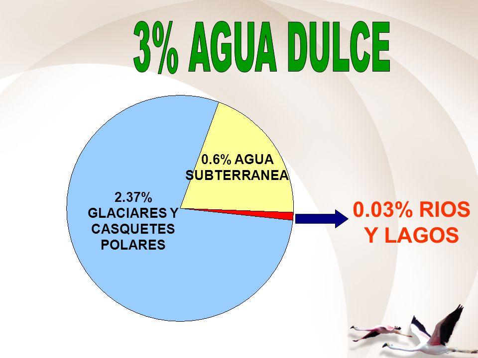 2.37% GLACIARES Y CASQUETES POLARES 0.6% AGUA SUBTERRANEA 0.03% RIOS Y LAGOS