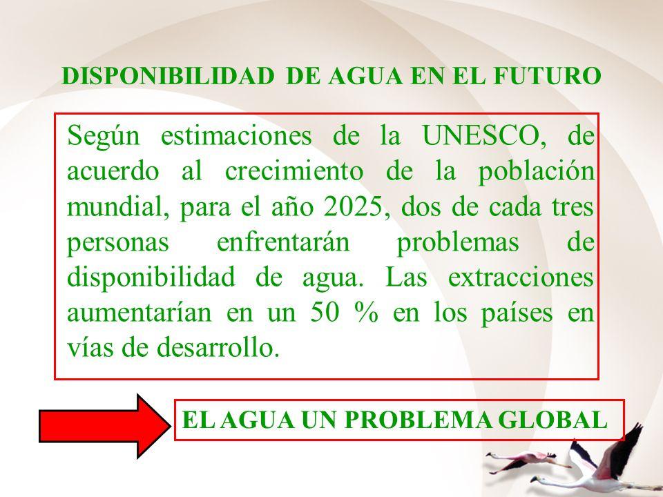 DISPONIBILIDAD DE AGUA EN EL FUTURO Según estimaciones de la UNESCO, de acuerdo al crecimiento de la población mundial, para el año 2025, dos de cada