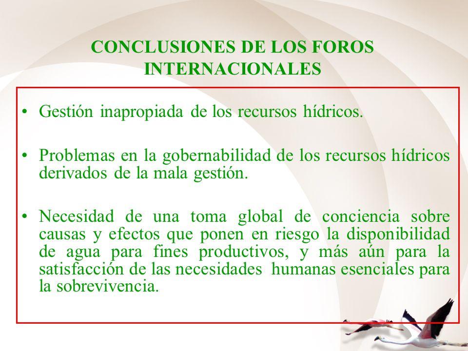 CONCLUSIONES DE LOS FOROS INTERNACIONALES Gestión inapropiada de los recursos hídricos. Problemas en la gobernabilidad de los recursos hídricos deriva