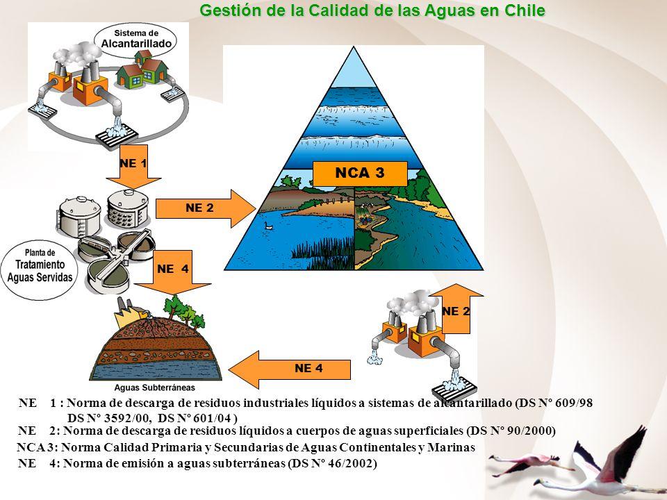 NE 2 NE 1 NE 2 NE 1 : Norma de descarga de residuos industriales líquidos a sistemas de alcantarillado (DS Nº 609/98 DS Nº 3592/00, DS Nº 601/04 ) NE