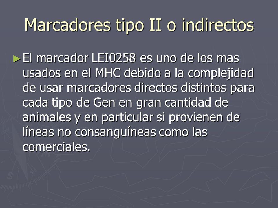 Marcadores tipo II o indirectos El marcador LEI0258 es uno de los mas usados en el MHC debido a la complejidad de usar marcadores directos distintos p