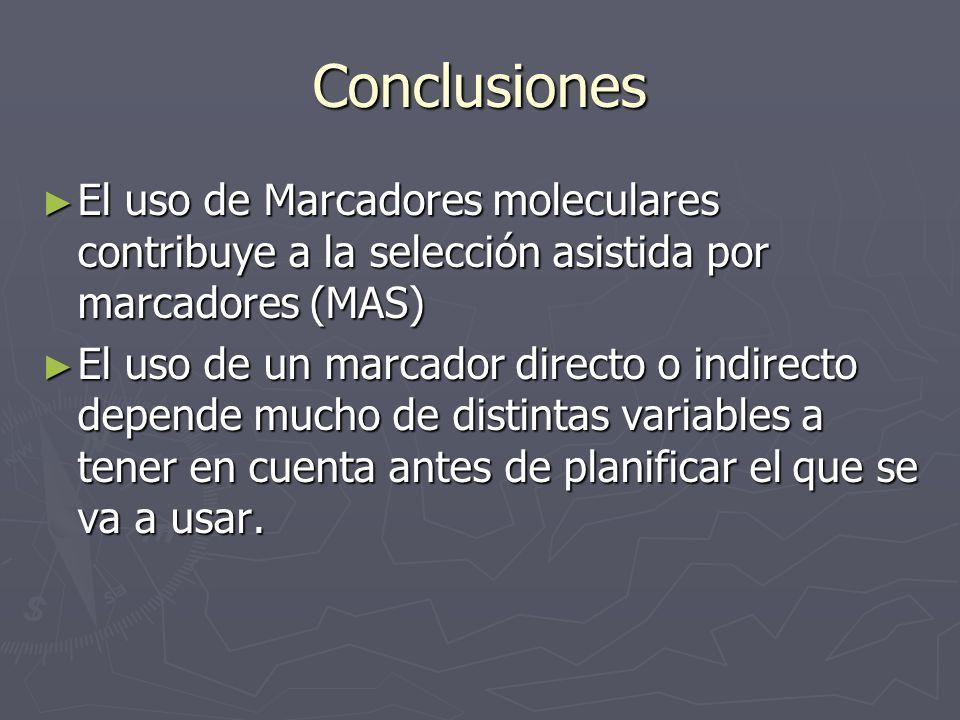 Conclusiones El uso de Marcadores moleculares contribuye a la selección asistida por marcadores (MAS) El uso de Marcadores moleculares contribuye a la