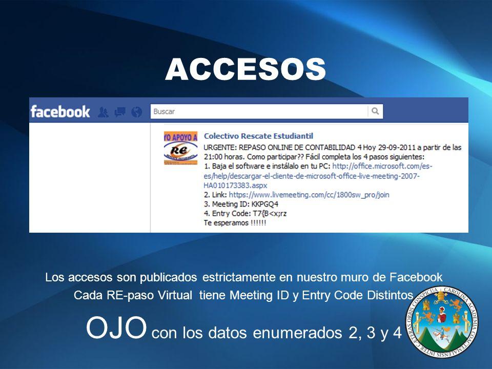 ACCESOS Los accesos son publicados estrictamente en nuestro muro de Facebook Cada RE-paso Virtual tiene Meeting ID y Entry Code Distintos OJO con los datos enumerados 2, 3 y 4