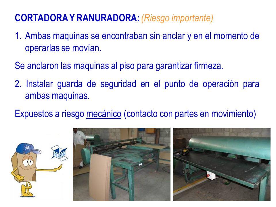CORTADORA Y RANURADORA: (Riesgo importante) 1.Ambas maquinas se encontraban sin anclar y en el momento de operarlas se movían. Se anclaron las maquina