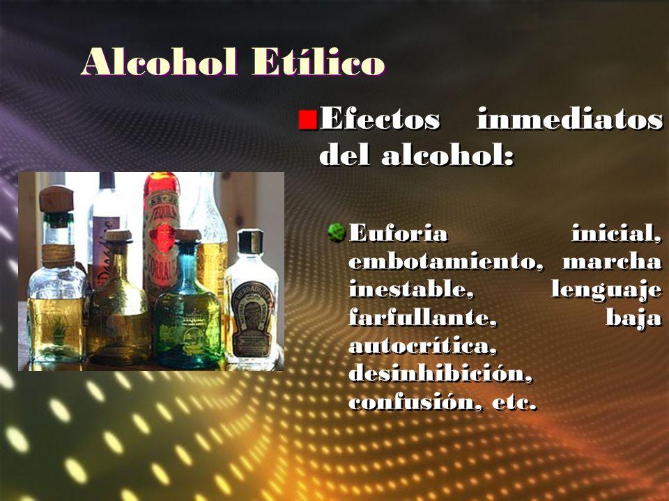 Alcohol Etílico Efectos inmediatos del alcohol: Euforia inicial, embotamiento, marcha inestable, lenguaje farfullante, baja autocrítica, desinhibición
