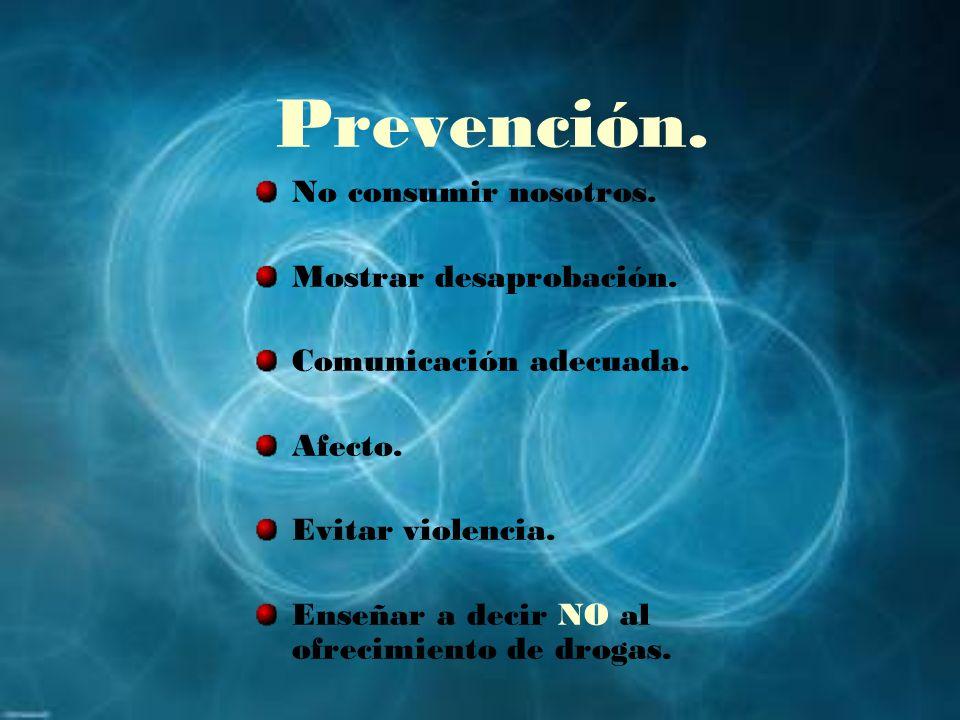 Prevención. No consumir nosotros. Mostrar desaprobación. Comunicación adecuada. Afecto. Evitar violencia. Enseñar a decir NO al ofrecimiento de drogas