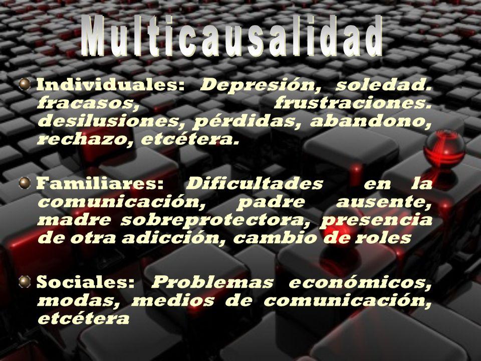 Individuales: Depresión, soledad. fracasos, frustraciones. desilusiones, pérdidas, abandono, rechazo, etcétera. Familiares: Dificultades en la comunic