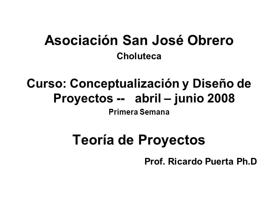 Asociación San José Obrero Choluteca Curso: Conceptualización y Diseño de Proyectos -- abril – junio 2008 Primera Semana Teoría de Proyectos Prof. Ric