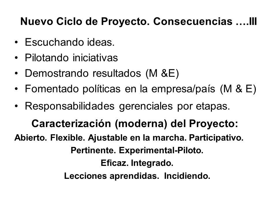 Nuevo Ciclo de Proyecto. Consecuencias ….III Escuchando ideas. Pilotando iniciativas Demostrando resultados (M &E) Fomentado políticas en la empresa/p