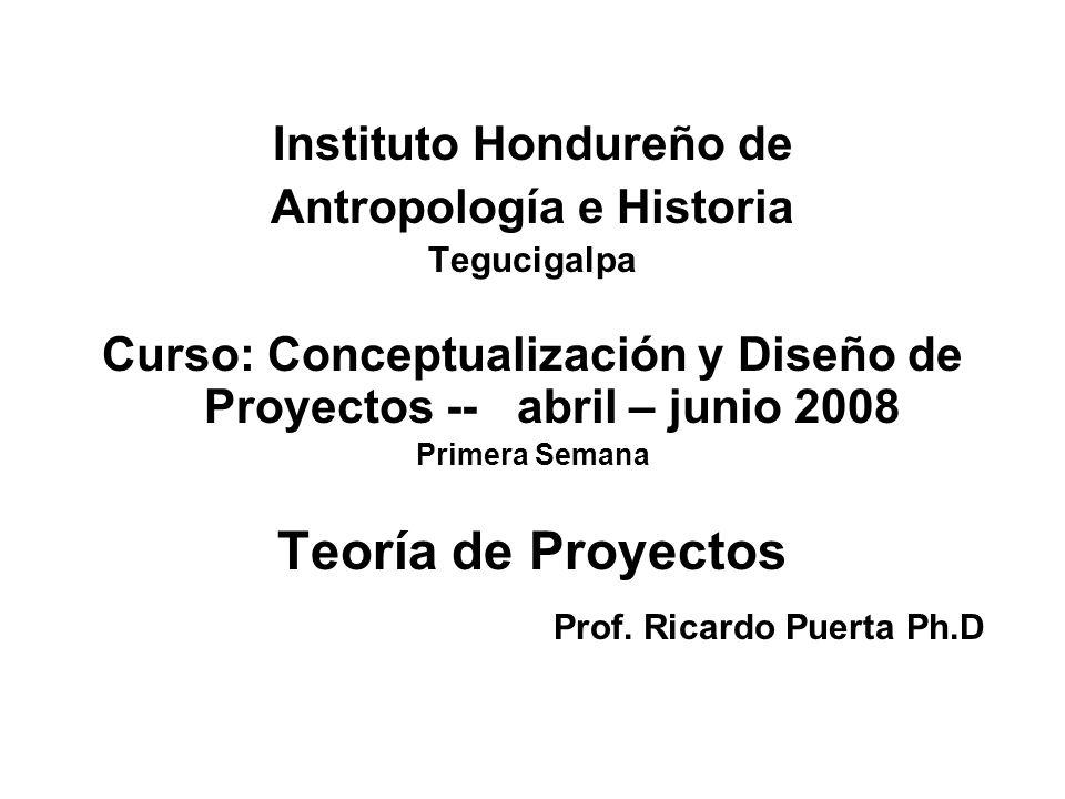Instituto Hondureño de Antropología e Historia Tegucigalpa Curso: Conceptualización y Diseño de Proyectos -- abril – junio 2008 Primera Semana Teoría