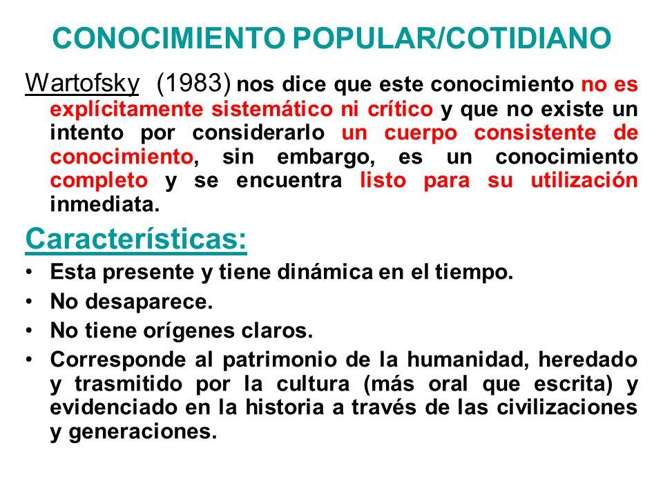 CONOCIMIENTO POPULAR/COTIDIANO Wartofsky (1983) nos dice que este conocimiento no es explícitamente sistemático ni crítico y que no existe un intento