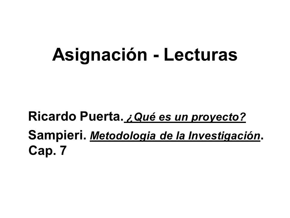 Asignación - Lecturas Ricardo Puerta. ¿Qué es un proyecto? Sampieri. Metodologia de la Investigación. Cap. 7