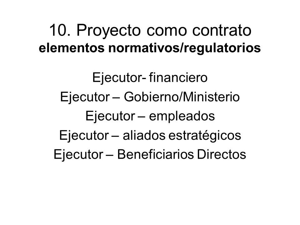 10. Proyecto como contrato elementos normativos/regulatorios Ejecutor- financiero Ejecutor – Gobierno/Ministerio Ejecutor – empleados Ejecutor – aliad