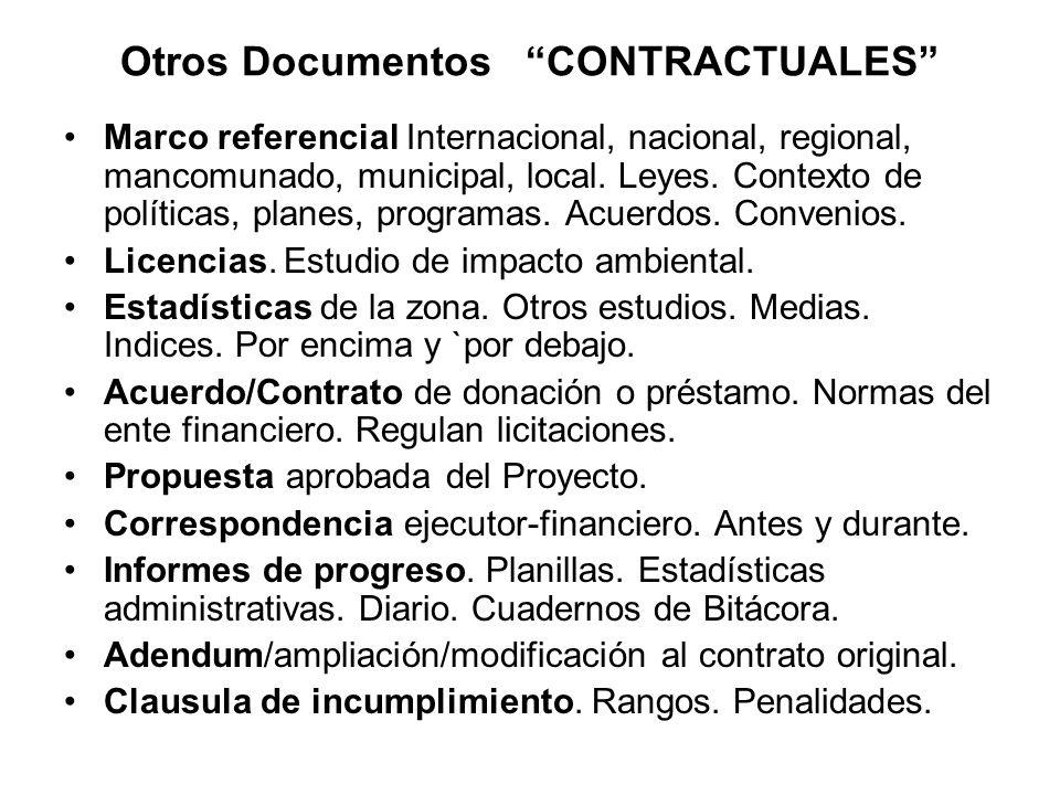 Otros Documentos CONTRACTUALES Marco referencial Internacional, nacional, regional, mancomunado, municipal, local. Leyes. Contexto de políticas, plane