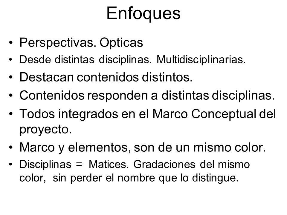 Enfoques Perspectivas. Opticas Desde distintas disciplinas. Multidisciplinarias. Destacan contenidos distintos. Contenidos responden a distintas disci