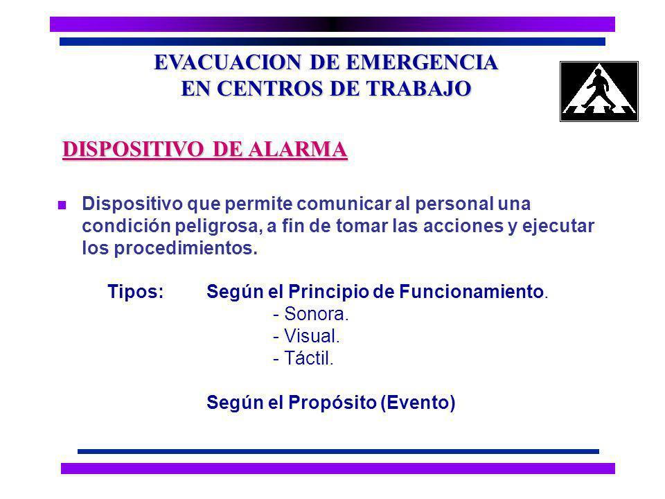 EVACUACION DE EMERGENCIA EN CENTROS DE TRABAJO n Estado declarado con el fin de tomar acciones concretas, para el control de la emergencia.