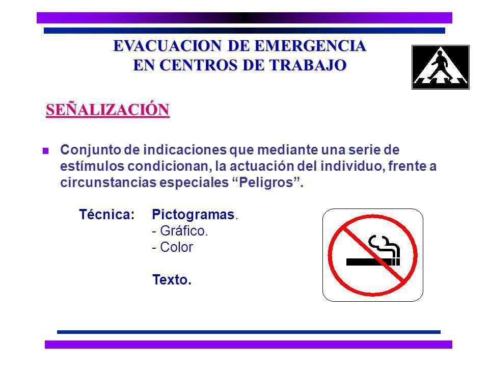 EVACUACION DE EMERGENCIA EN CENTROS DE TRABAJO n Dispositivo que permite comunicar al personal una condición peligrosa, a fin de tomar las acciones y ejecutar los procedimientos.