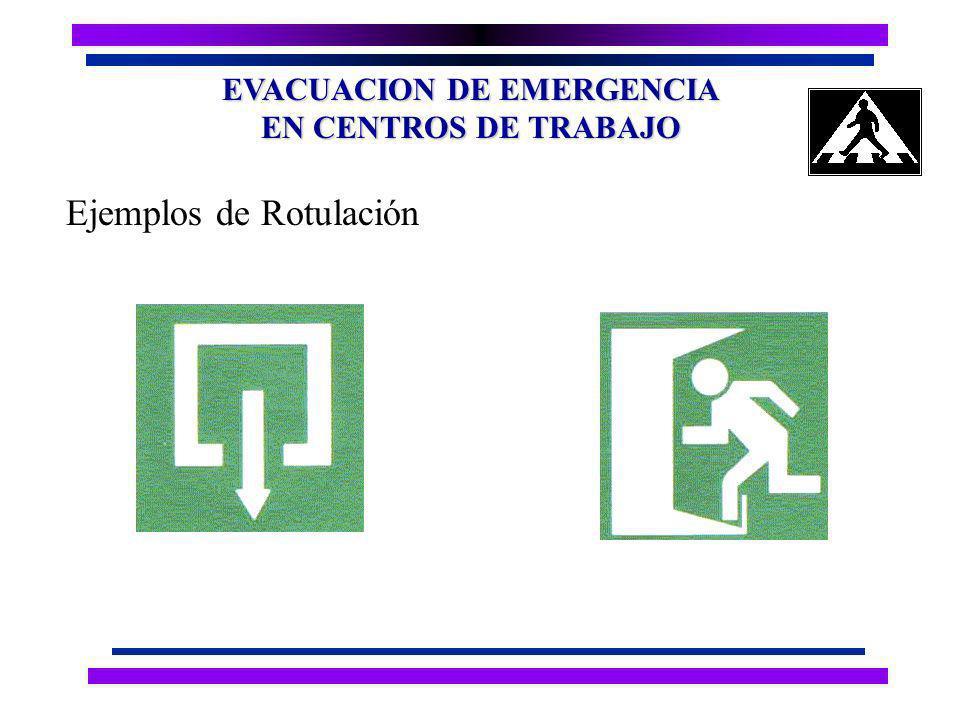 EVACUACION DE EMERGENCIA EN CENTROS DE TRABAJO Ejemplos de Rotulación