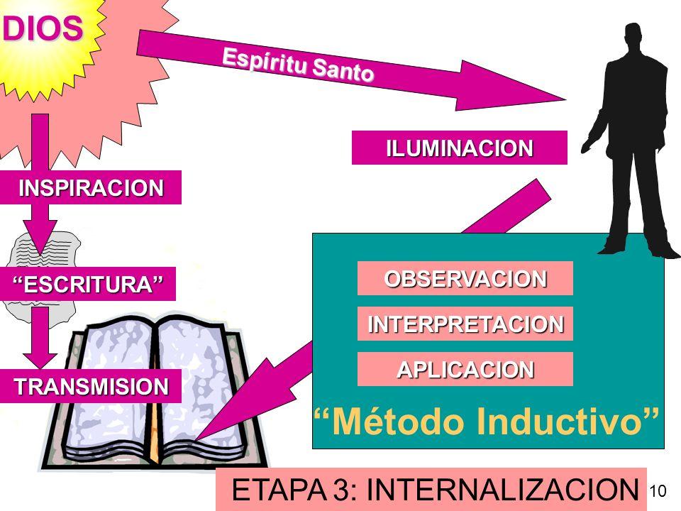 DIOS ILUMINACION ETAPA 3: INTERNALIZACION INSPIRACION ESCRITURA TRANSMISION Espíritu Santo OBSERVACION INTERPRETACION APLICACION Método Inductivo 10