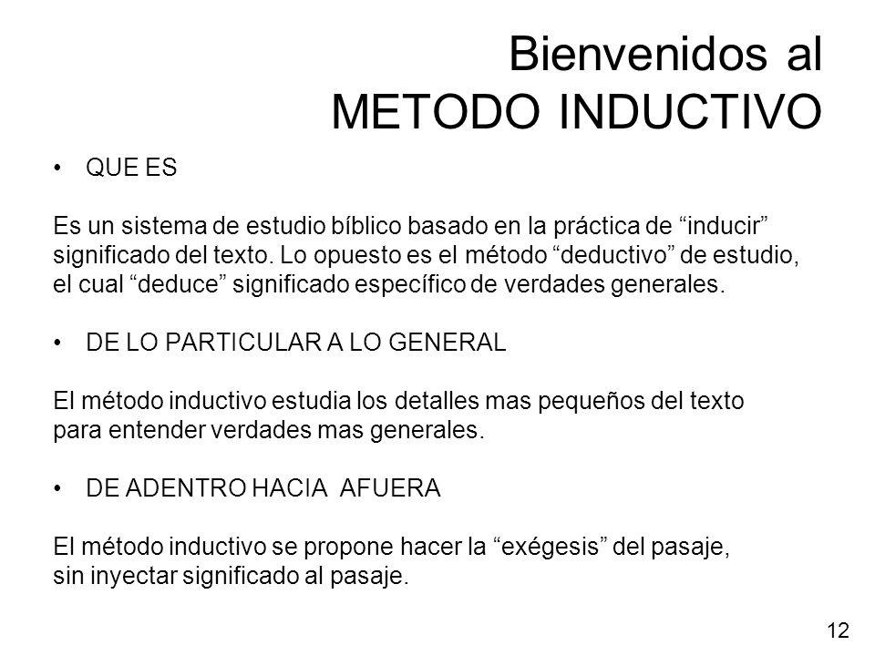 Bienvenidos al METODO INDUCTIVO QUE ES Es un sistema de estudio bíblico basado en la práctica de inducir significado del texto. Lo opuesto es el métod