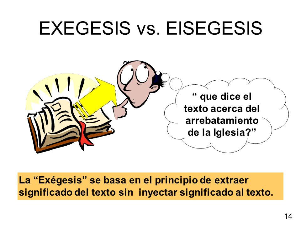 EXEGESIS vs. EISEGESIS La Exégesis se basa en el principio de extraer significado del texto sin inyectar significado al texto. que dice el texto acerc