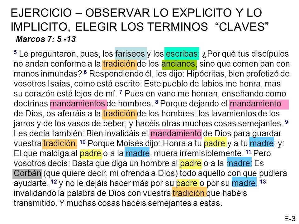 EJERCICIO – OBSERVAR LO EXPLICITO Y LO IMPLICITO, ELEGIR LOS TERMINOS CLAVES Marcos 7: 5 -13 5 Le preguntaron, pues, los fariseos y los escribas: ¿Por