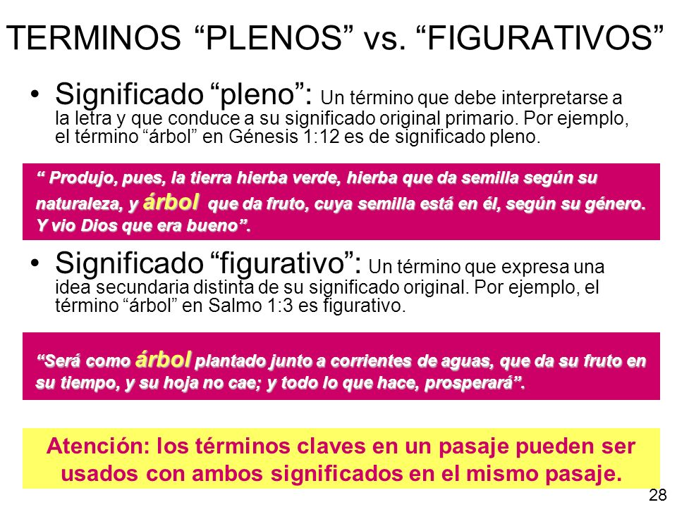 TERMINOS PLENOS vs. FIGURATIVOS Significado pleno: Un término que debe interpretarse a la letra y que conduce a su significado original primario. Por