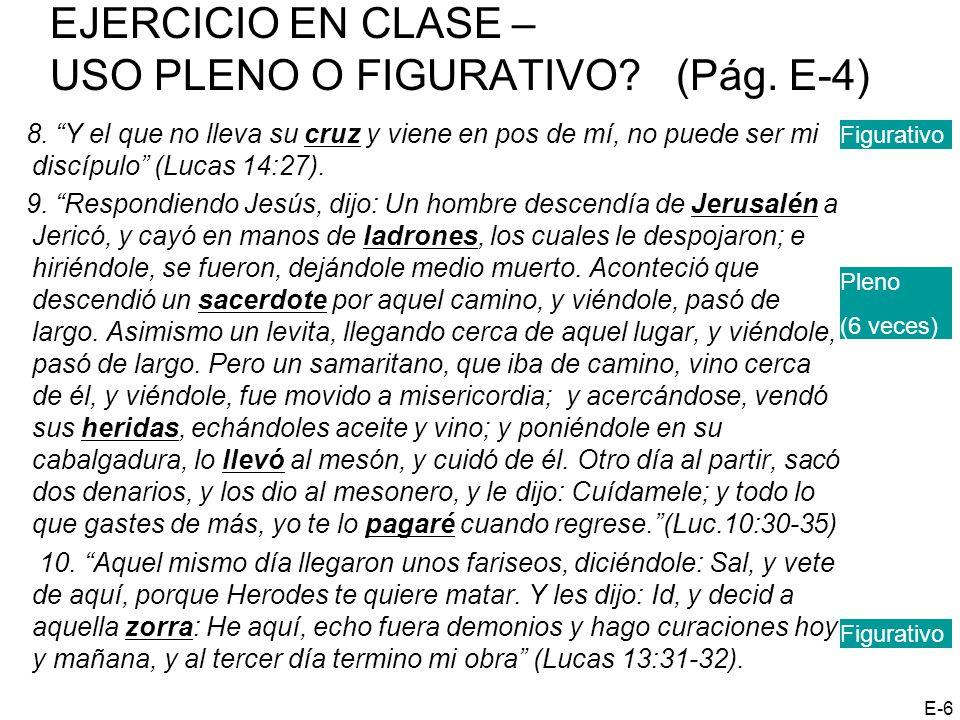 EJERCICIO EN CLASE – USO PLENO O FIGURATIVO? (Pág. E-4) 8. Y el que no lleva su cruz y viene en pos de mí, no puede ser mi discípulo (Lucas 14:27). 9.