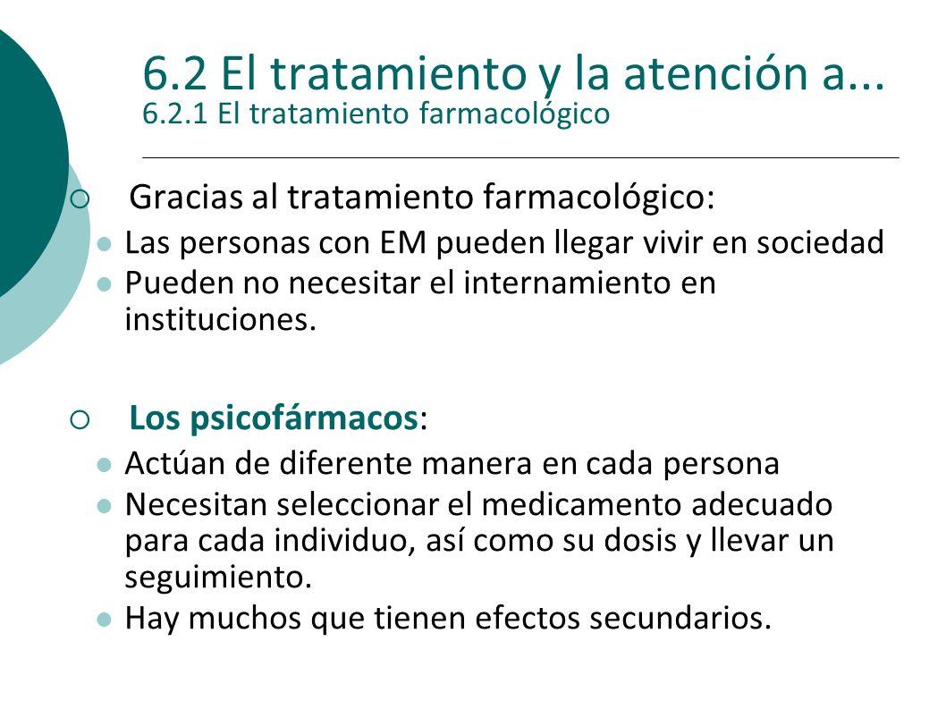 6.2 El tratamiento y la atención a... 6.2.1 El tratamiento farmacológico Gracias al tratamiento farmacológico: Las personas con EM pueden llegar vivir