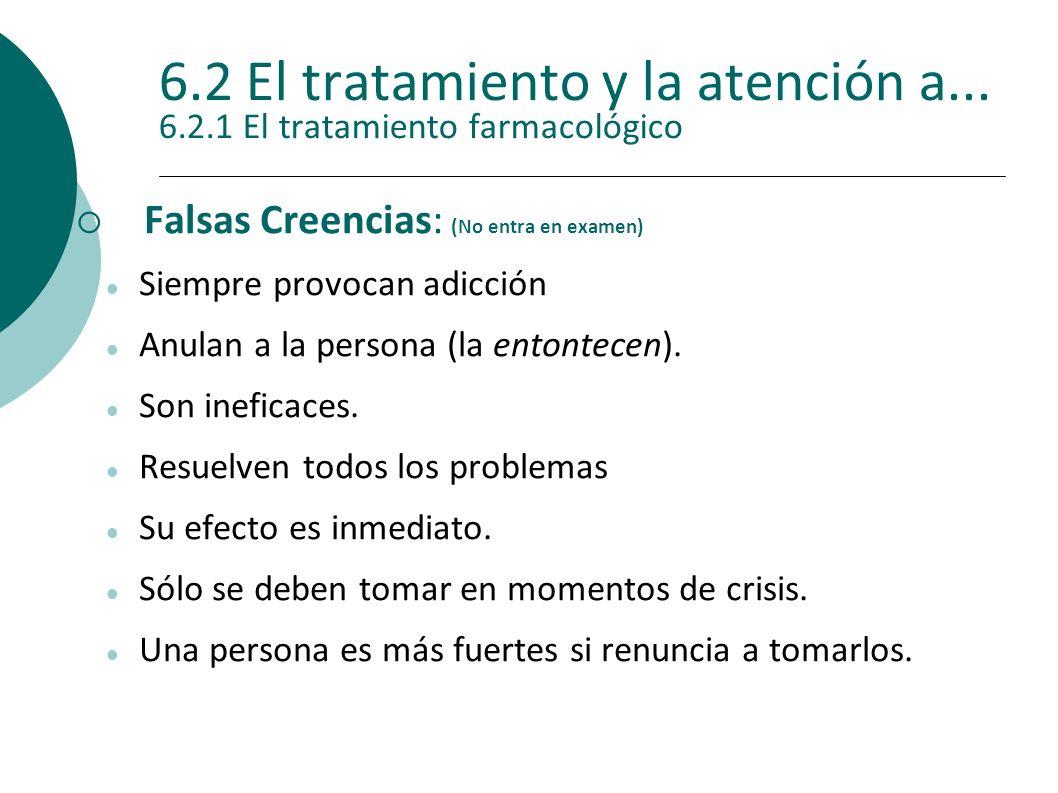 6.2 El tratamiento y la atención a... 6.2.1 El tratamiento farmacológico Falsas Creencias: (No entra en examen) Siempre provocan adicción Anulan a la