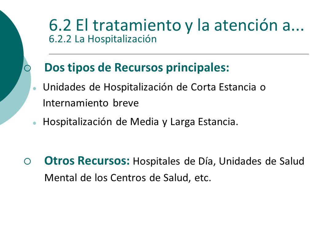 6.2 El tratamiento y la atención a... 6.2.2 La Hospitalización Dos tipos de Recursos principales: Unidades de Hospitalización de Corta Estancia o Inte