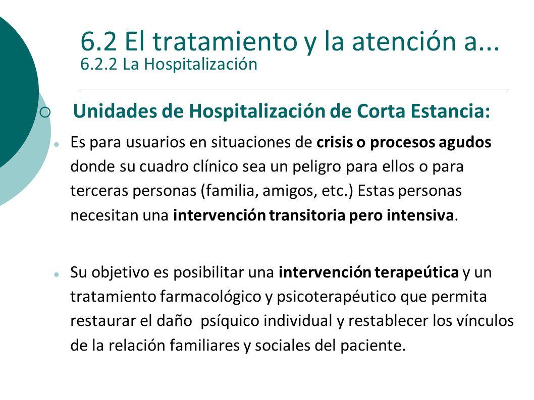 6.2 El tratamiento y la atención a... 6.2.2 La Hospitalización Unidades de Hospitalización de Corta Estancia: Es para usuarios en situaciones de crisi