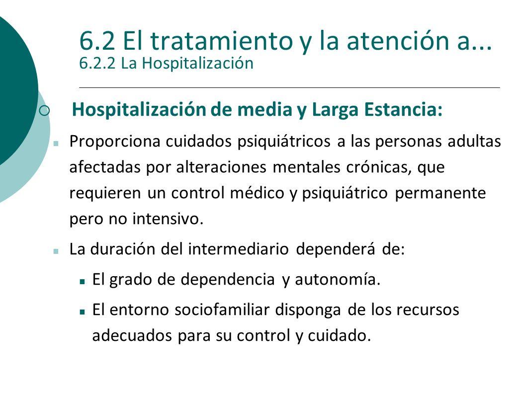 6.2 El tratamiento y la atención a... 6.2.2 La Hospitalización Hospitalización de media y Larga Estancia: Proporciona cuidados psiquiátricos a las per