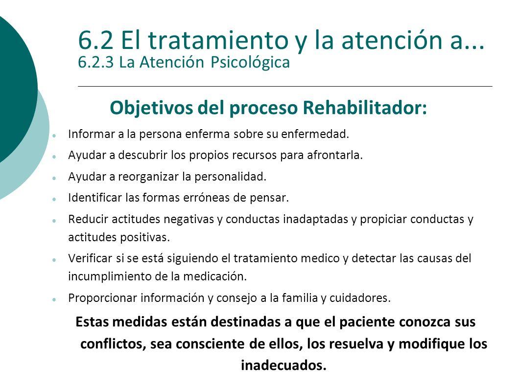 6.2 El tratamiento y la atención a... 6.2.3 La Atención Psicológica Objetivos del proceso Rehabilitador: Informar a la persona enferma sobre su enferm