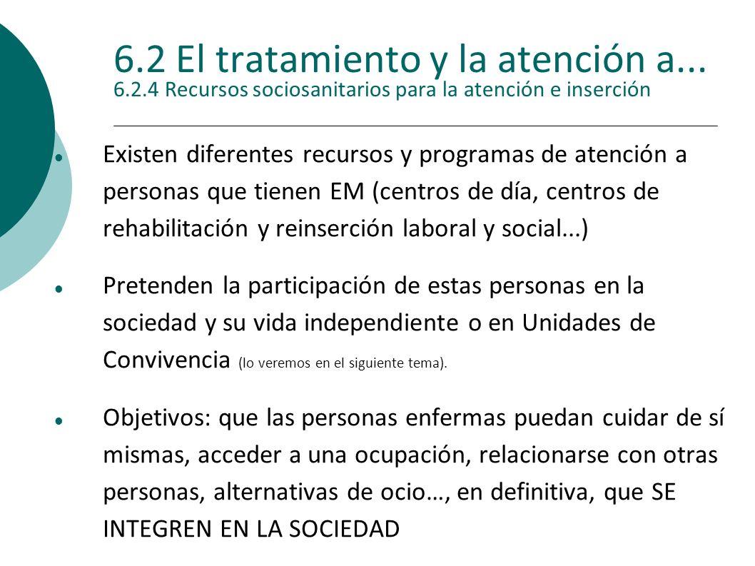6.2 El tratamiento y la atención a... 6.2.4 Recursos sociosanitarios para la atención e inserción Existen diferentes recursos y programas de atención